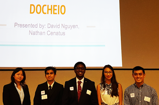 Docheio, the team that won first place and $2,500, designed a medication-dispensing device that can help reduce opioid abuse at the point of the pharmacy. Docheio team members were Jennie Huynh, Nathan Cenatus, Deborah Choi, David Nguyen and Sagar Rijal.