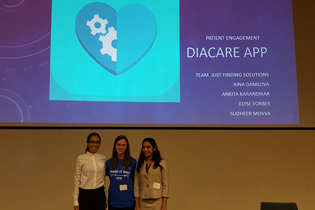 Third place team Just Finding Solutions included Elyse Forbes, Aina Danilova, Ankita Karandikar and Sudheer Movva.